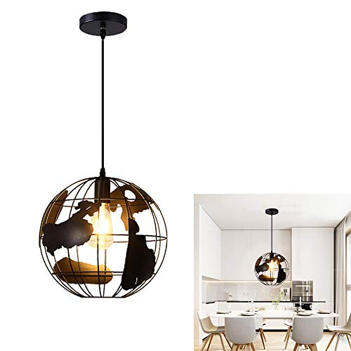 Chao Zan - Lámpara de techo colgante vintage, iluminación de suspensión, E27, retro, industrial, de hierro, de metal, para salón, cocina, comedor, dormitorio, pasillo, color negro