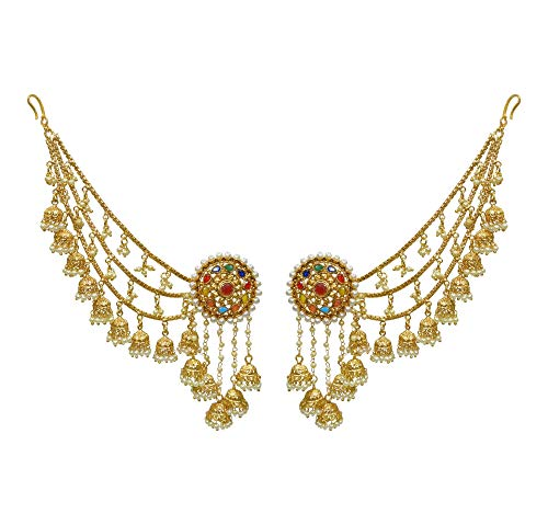 Babosa Multi Color Bahubali Earring Detachable kaan Sahara Jhumki chain