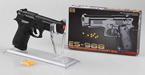KS-11 Spielzeug Pistole ab 3 Jahren/schwarz / 0,08 Joule/Länge 18 cm / 6mm BB Softair Kugelpistole mit Magazin Airsoft Munition Polizei Dienstwaffe Spielzeug für Jungs