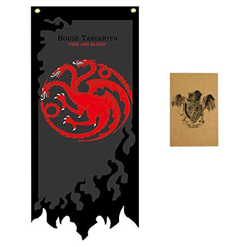ZCWOLTM Geburtstagsgeschenke für Tochter, [144X57CM], Game of Thrones Flaggen und Banner für Partydekoration