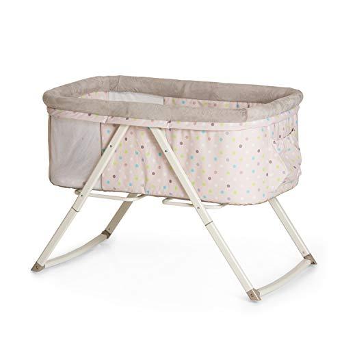 Hauck Minicuna Dreamer, para Bebes desde el Nacimiento hasta 9 kg, con Colchón, Function Mecedora, Bolso de Almacenaje, Plegable, Beige Multi Puntos