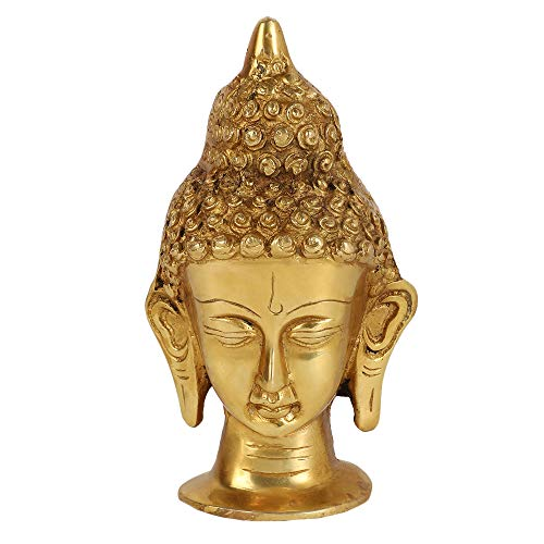 GURU JEE Brass Metal Buddha Face Sculpture Statue Idol Home Decoration Showpiece for Gifts