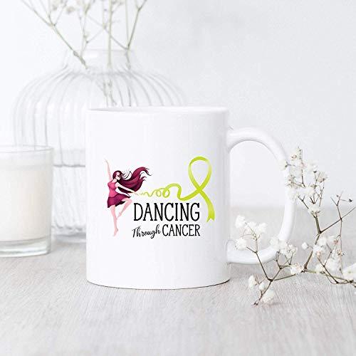 Lymphoma Cancer Dancing Through/Mug/Lymphoma Cancer Mug/Lymphoma Cancer Awareness Mug/Lymphoma Cancer Support/Lime Green Ribbon Mug