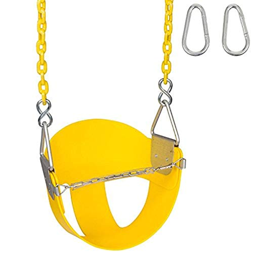 Swing Set Stuff Highback Half Bucket (Yellow) with 5.5 Ft. of Coated Chain and SSS Logo Sticker