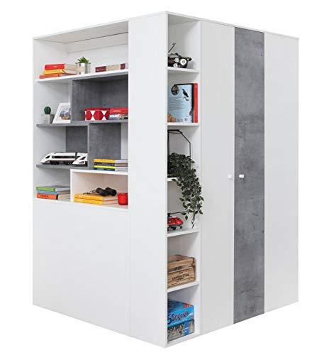 Furniture24 Eckkleiderschrank Sigma SI - 1 Garderobenschrank, Schrank, Garderobe, Begehbarer Kleiderschrank mit Beleuchtung, Kleiderstange und Schubladen (Weiß Lux/Beton)