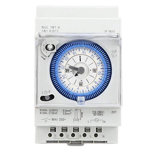 Temporizador mecánico de 24 horas 250VAC 16A Interruptor de temporizador Interruptor de tiempo Relé Unidad de configuración mínima 15 minutos para control industrial, hogar