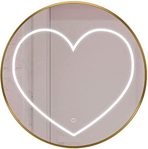 Espejo de mesa de maquillaje Espejo de baño Iluminado LED Luz redonda Montado en la pared Montado enmarcado Dimmable Smart Makeup Mirror con interruptor táctil Adecuado para el baño Hotel Barber Shop