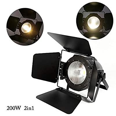 Par COB LED Stage Light w/Light Blocking & Build-in Cooling Fan, Cool & Warm White 2 in1 Party DJ Lighting Lamp PAR64 DMX-512 Spotlight for Wedding Club Party Theater Studio Effect Uplighting (200)
