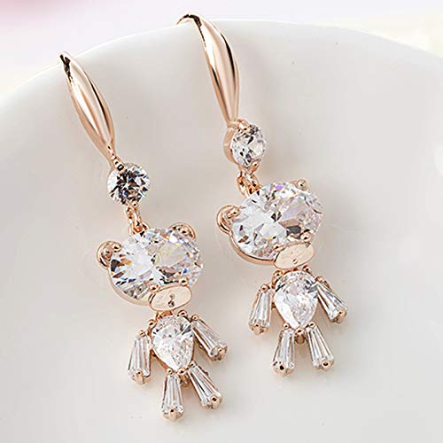 S925 Sterling Silver Stud Earrings, Personalized Cute Crystal Bear Earrings, Female Ear Jewelry Earrings Bear earrings gold