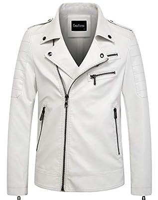 chouyatou Men's Vintage Asymmetric Zip Lightweight Faux Leather Biker Jacket (Medium, White) from
