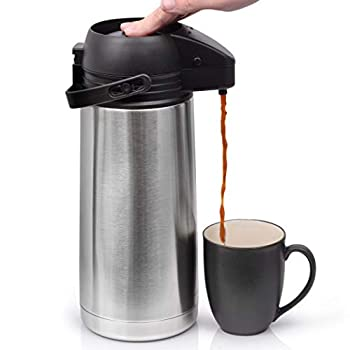 64 Oz  1.9 Liter  Airpot Coffee Dispenser with Easy Push Button | BPA-Free Stainless Steel Carafe | Double-Wall Vacuum Insulated Thermos | Effectively Keeps Beverages Hot or Cold