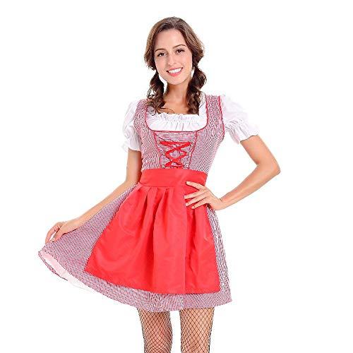 NEEKY Damen Frauenkleid Bayerisches Bier Mädchen Oktoberfest Cosplay Damen Kostüm 3pc Oktoberfest Rock(XL,rot)