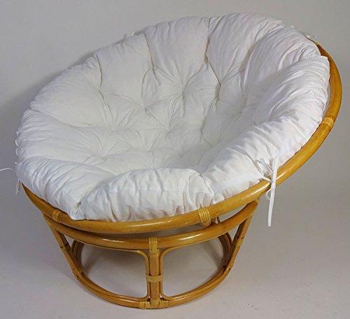 Rattan Papasan Sessel inkl. hochwertigen Polster, D 115 cm, Fb. Honig, Polster weiß