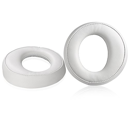 PS3 PS4 Earpads, JARMOR Replacement Protein Leather & Memory Foam Ear Cushion Pad Cover for Sony Playstation Gold Wireless / 2.0 PSV 3 4 Platinum Wireless Stereo Headset (White)