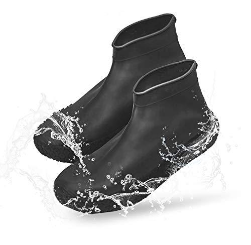 Idefair Wasserdichte Silikon-Schuhüberzüge Wiederverwendbare Regenstiefel-Schuhabdeckungen Rutschfeste Regenschnee-Bowling-Outdoor-Überschuhgummi-Männer Frauen (L, Schwarz)