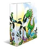 HERMA 19818 Motiv-Ordner DIN A4 Kindergarten Dinos, 7 cm breit aus stabilem Karton mit hochwertigem Innendruck und Namensfeld, Ringordner, Aktenordner, Briefordner, 1 Ordner