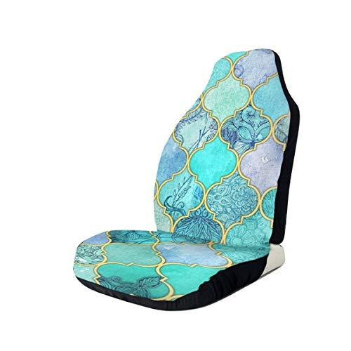 NIET Cool Jade & Icy Mint Decoratieve Marokkaanse tegel Patroon Gooi Kussen Automobile Full-size Bedrukte Seat Cover Is Gemakkelijk te installeren1PCS
