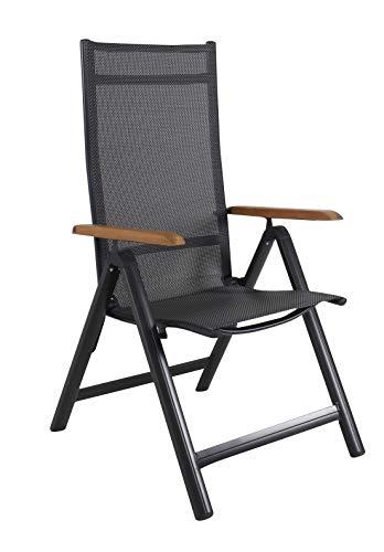 Ambientehome Silla Plegable de Aluminio de Lujo con Respaldo Alto para jardín, sillón de Aluminio 4 x 4, reposabrazos de Madera de Acacia, Color Negro