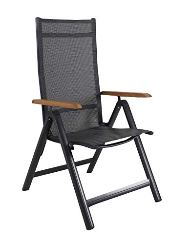 Ambientehome Aluminium Luxury Folding Garden Chair 4 x 4 Textile Armrests Made of Acacia Black