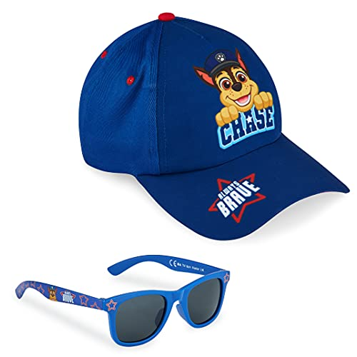 PAW PATROL Sonnenhut Kinder, Baseball Cap und Sonnenbrille Kinder Set UV Schutz, Kappe Kinder Jungen Einheitsgröße ab 3 Jahren (Blau)