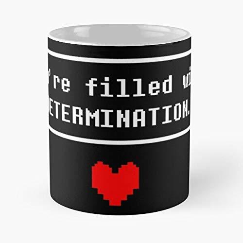 Undertale Determination - Taza de cerámica de mármol blanco