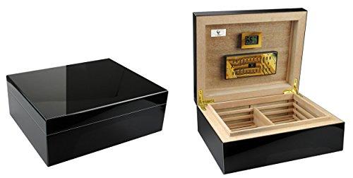 """GERMANUS""""Prandium"""" Premium Zigarren Humidor mit Digital Hygrometer in Schwarz für ca. 100 Zigarren"""