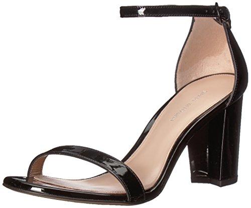 Stuart Weitzman Women's NEARLYNU Heeled Sandal, Black Patent, 8 Medium US