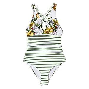 CUPSHE Women's One Piece Swimsuit V Neck Tummy Control Cross Back Vintage Swimwear Bathing Suits