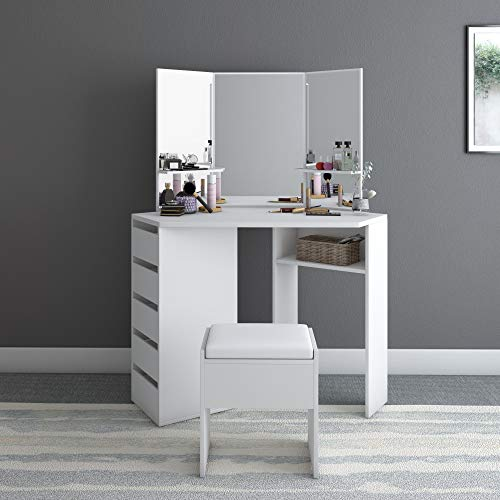 Corner Vanity Table Set,Makeup Desk with Three-Fold Mirrors and 5 Drawers for Women Girls, Modern Dressing Table Storage Cabinet for Bedroom Bathroom(White)