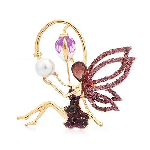 Wuli & Baby, broches de hadas de ángel con diamantes de imitación, alas de flores esmaltadas para mujeres, broches informales de fiesta para niñas, regalos