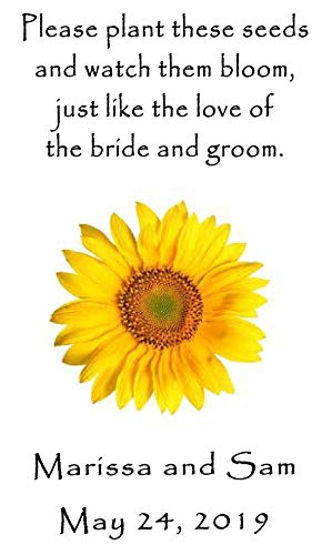 Wedding Wildflower Seed Packet Favors 100 qty. Personalized-Sunflower Design 6 verses to choose