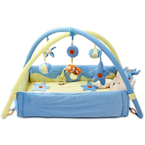 SONARIN Lindo Príncipe Alfombras de juego Gimnasio de Actividades Baby Play Mat & Activity Gym con música,juguetes para Actividades,cama pequeña,Colorido e interactivo,Ideal Regalo(Azul)