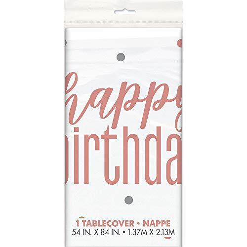 Unique Party Supplies - Partytischdecken in Rose Gold, Größe Happy Birthday
