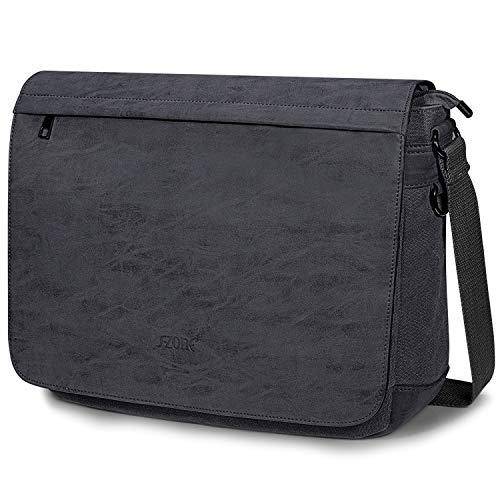 S-ZONE Laptop Messenger Bag 15.6 Inch Water Resistant PU Leather Canvas Satchel Crossbody Shoulder Briefcase