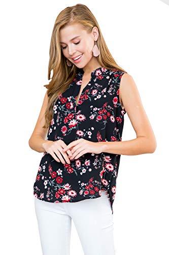 RIAH FASHION Notch V-Neck Dressy Shirt Blouse - Casual Tunic Top Sleeveless Tank, Short Sleeve, 3/4 Tab, Floral, Polka Dot - Black - Small