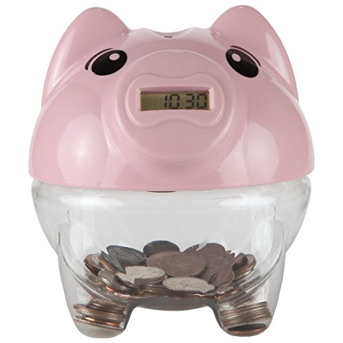 Lily's Home Kid's Money Counting Piggy Digital Coin Bank, Counts U.S. Pennies, Nickels, Dimes, Quarters, Half Dollars, and Dollar Coins, Ideal for Personal Savings, Learning or Play, Pink (5.5' x 6.25' x 6')
