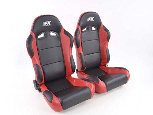 FK Automotive Spacelook Carbon - Asiento Deportivo Para Coche (Izquierdo Y Derecho), Color Negro Y Rojo