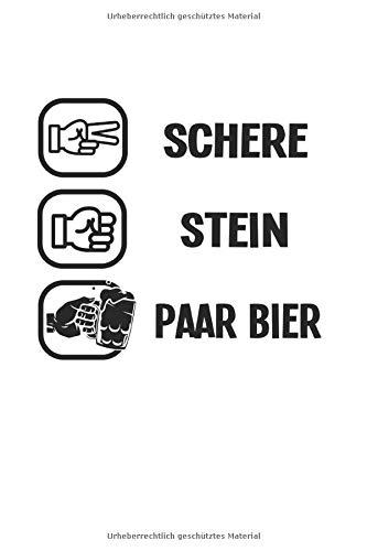 Notizbuch: Bier Schere Stein Papier Alkohol Lustiges Geschenk 120 Seiten, 6X9 (Ca. A5), Karomuster