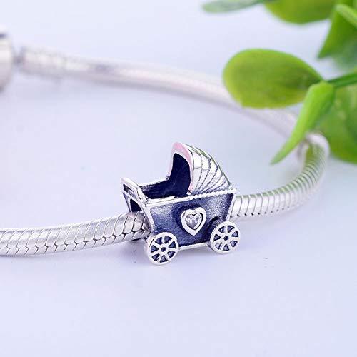 ZSCZQ Neueste DIY 925 Sterling Silber Perlen Baby Kinderwagen Charm mit klaren CZ Fit Original Pan Charms Armband Schmuckherstellung