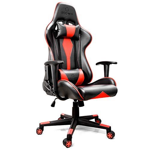iHomy Multifunktionaler Gaming Stuhl Großer tragender Gaming-Stuhl bis 200KG Premium Schreibtischstuhl Bürostuhl Gamer Ergonomischer Stuhl mit Einstellbarer Neigungswinkel bis 180°