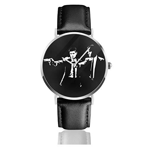 Unisex Business Casual Pulp Fiction Supernatural Sam and Dean Winchester Uhren Quarzuhr Lederarmband schwarz für Männer Frauen Young Collection Geschenk