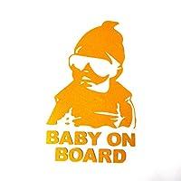 Baby on Board 反射 ステッカー ちょいワル キッズ 赤ちゃんが乗っています セーフティサイン AHKAH WORKS (ゴールド)