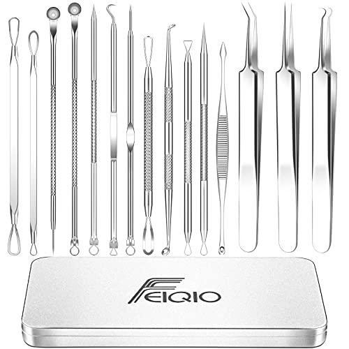 2021 Latest 15 PCS Blackhead Remover Tool Kit, Blackhead Tweezers Kit, Acne Extractor Tool, Professional Stainless Pimple Acne Blemish Removal Tools Set with Metal Case