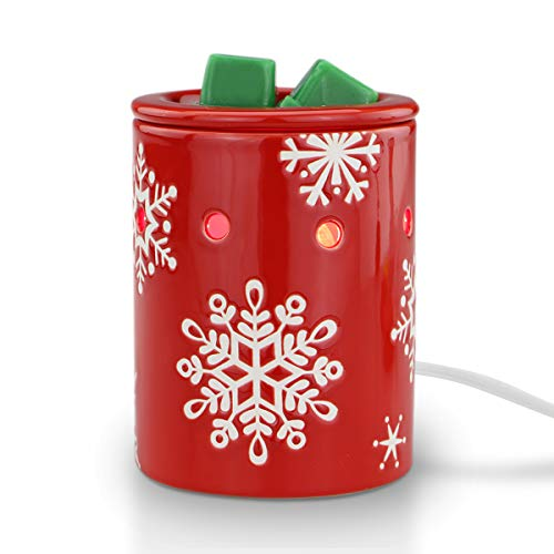 STAR MOON Electric 2-in-1 Candle Warmer for Wax Melt, Home Fragrance Diffuser, Fragrance Air Fresheners, Home Décor, No Flame, Removable Dish, with One More Bulb (Xmas Snowflakes)