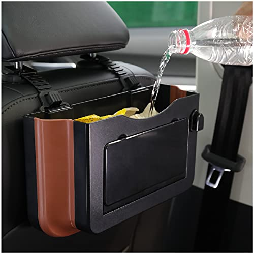 Hanging Waterproof Car Bin - Car Trash Can Organizer Bag Foldable Cup Holder Valet Tray Mini Automotive Garbage Collapsible Multipurpose Waste Bag Truck SUV Van (FAUROREST)