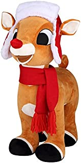 Giant Rudolph the Red-Nosed Reindeer Plush Door Greeter, Red Hat & Scarf
