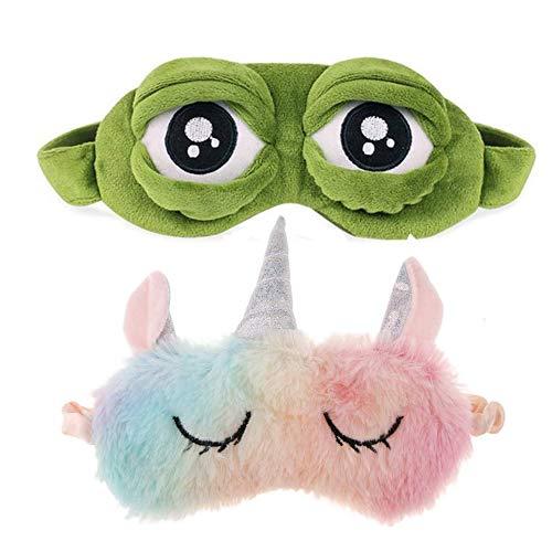 Schneespitze 2 Stück Cartoon Premium Schlafmaske,Einhorn Schlafmaske,Rainbow Unicorn Schlafmasken,Frosch Augenmaske Blackout Brille,Plüsch Schlafmaske Schlafmasken für Erwachsene, Kinder