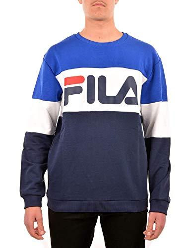 Fila Felpa Straight Uomo Bluette Girocollo Tricolor Stampa con Logo 688050A436 L