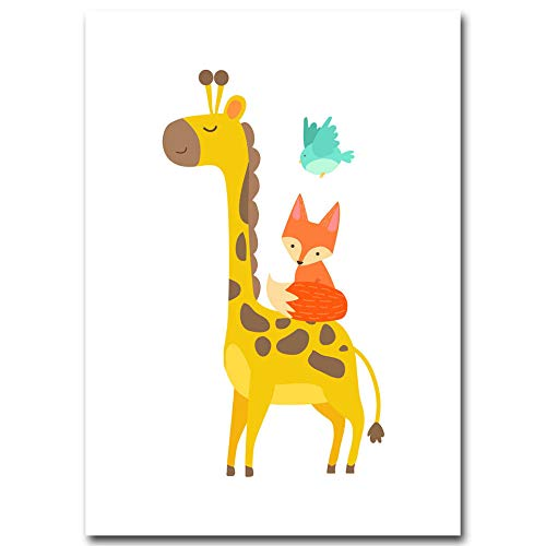 YTHK Cerveza Jirafa Fox Animal Poster Minimalista Lienzo Cartoon Nursery Picture Baby Living Room Decoration 50x70cm Sin Marco Picture 2