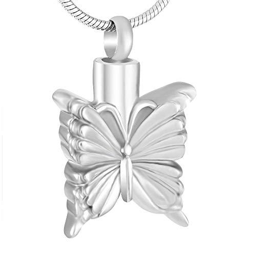LLSJF Collar De Cenizas Colgante De Cremación Recuerdo Collar Collar De Urna De Mariposa Recuerdo De Funeral Conmemorativo De Cremación